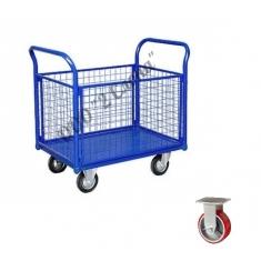 Тележка платформенная с сетчатыми бортами, колеса большегрузная серия полиуретановый контактный слой