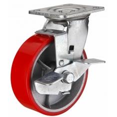 Колеса полиуретановые поворотные с тормозом, платформенное крепление